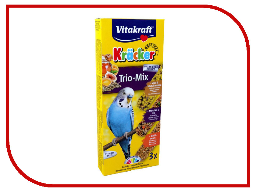 Vitakraft Крекеры Мед Яйцо Фрукты 3шт для волнистых попугаев 3303 корм для птиц vitakraft для волнистых попугаев 800г