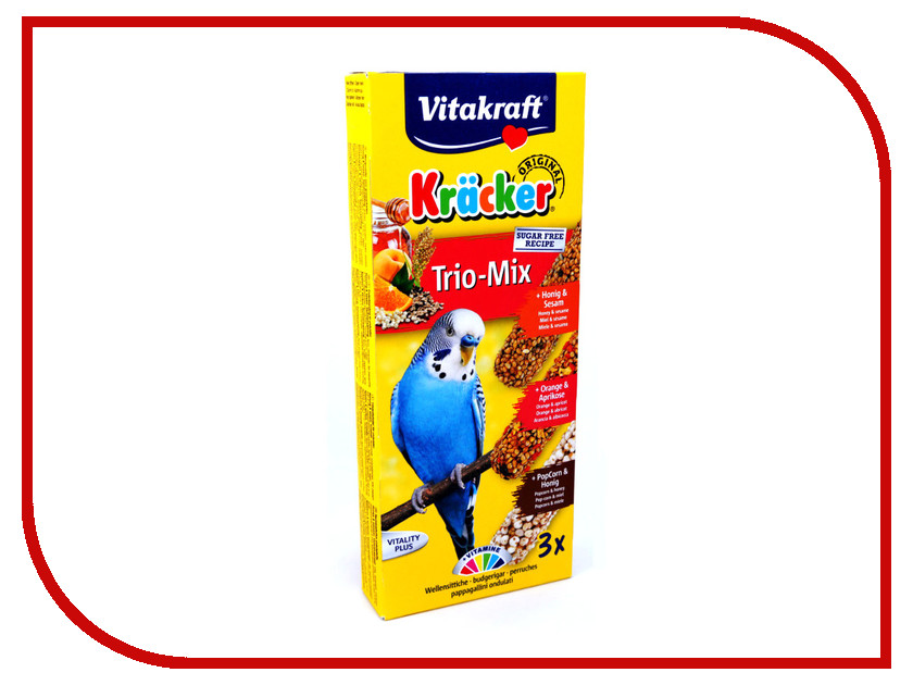 Vitakraft Крекеры Мед Кукуруза Апельсин 3шт для волнистых попугаев 3302 корм для птиц vitakraft для волнистых попугаев 800г