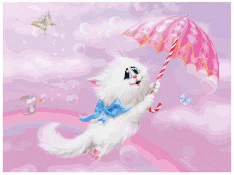 Картина по номерам Белоснежка Белая кошечка 745-AS картина по номерам белоснежка птичка на заборе 313 as