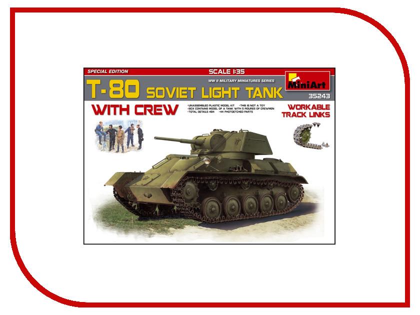 Сборная модель MiniArt Т-80 Советский Легкий Танк с Экипажем 35243М танк звезда советский легкий танк т 60 1 100 хаки 6258