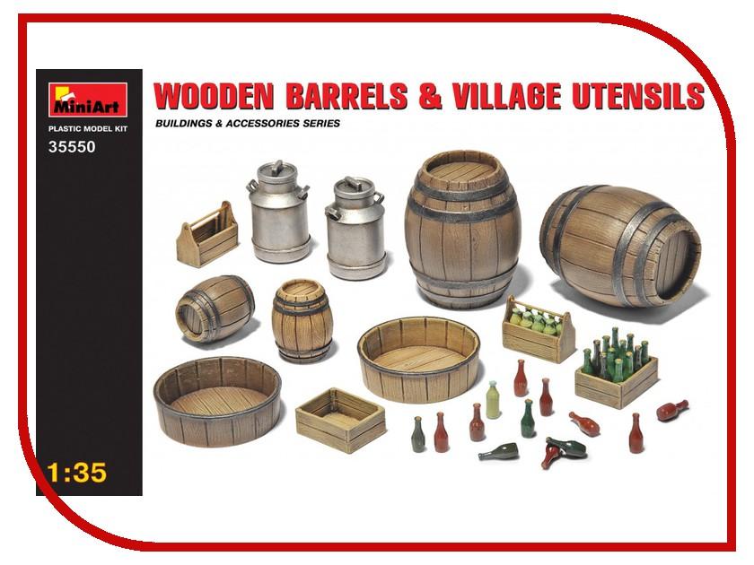Фото Сборная модель MiniArt Деревянные бочки и деревенская утварь 35550М