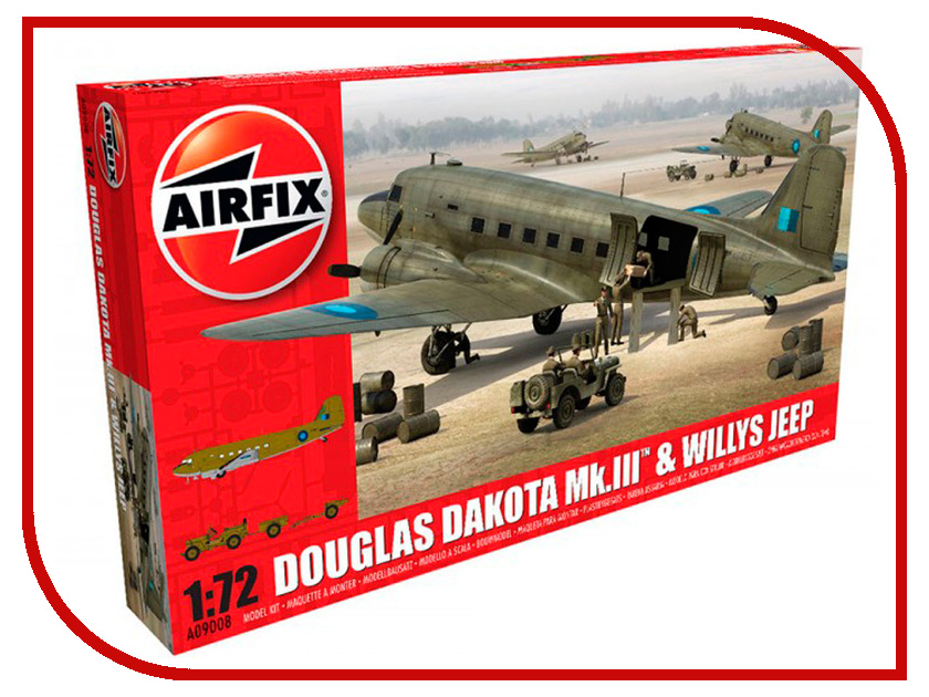 Сборная модель AIRFIX Douglas Dakota Mkiii With Willys Jeep A09008 new carburetor fit for willys jeep solex design civilian l head t 069