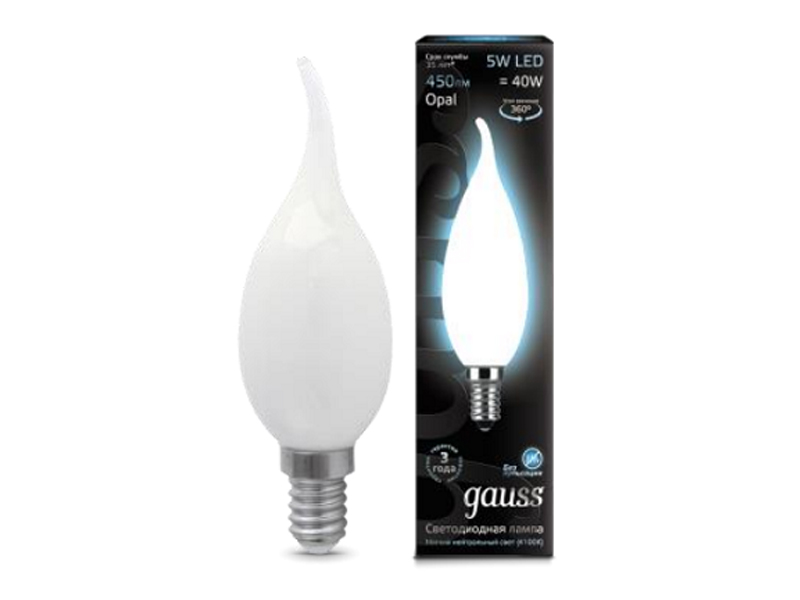 Лампочка Gauss LED Filament Candle Tailed Opal E14 5W 4100К 104201205