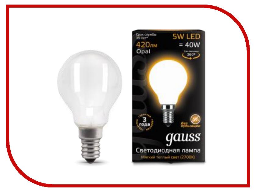 Лампочка Gauss LED Filament Globe Opal E14 5W 2700K 105201105 лампочка gauss mr16 gu5 3 5w 2700k 101505105