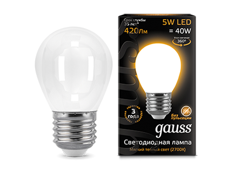 Лампочка Gauss LED Filament Globe Opal E27 5W 2700K 105202105