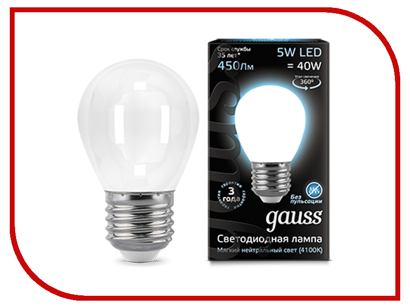 Лампочка Gauss LED Filament Globe Opal E27 5W 4100K 105202205