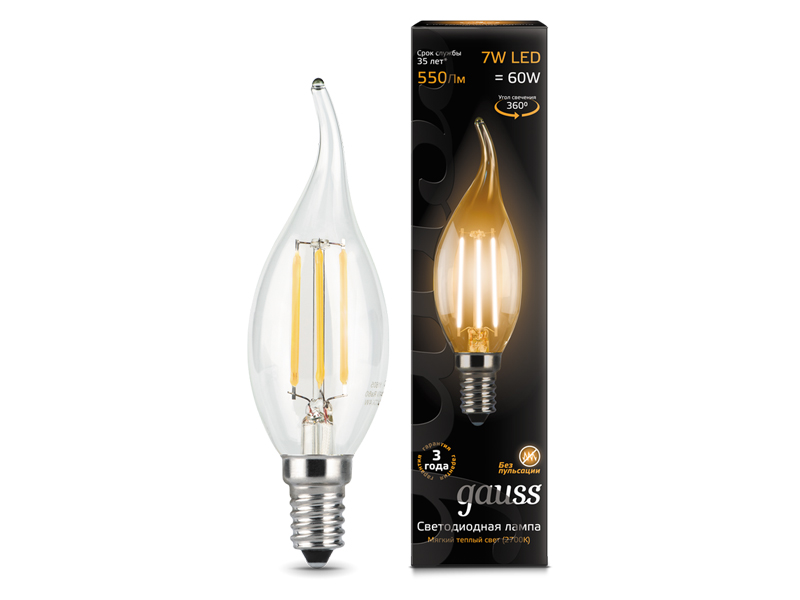 Лампочка Gauss LED Filament Candle Tailed E14 7W 2700К 104801107