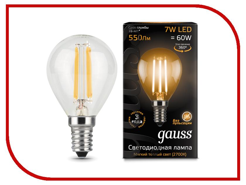 Лампочка Gauss LED Filament Globe E14 7W 2700K 105801107 лампочка rev led a60 e27 7w 2700k premium filament теплый свет 32353 2