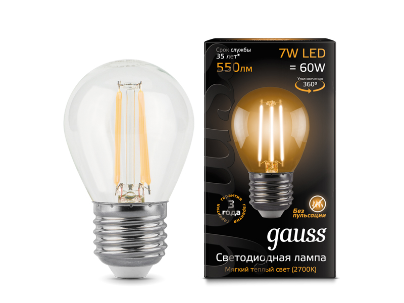 Лампочка Gauss LED Filament Globe E27 7W 2700K 105802107