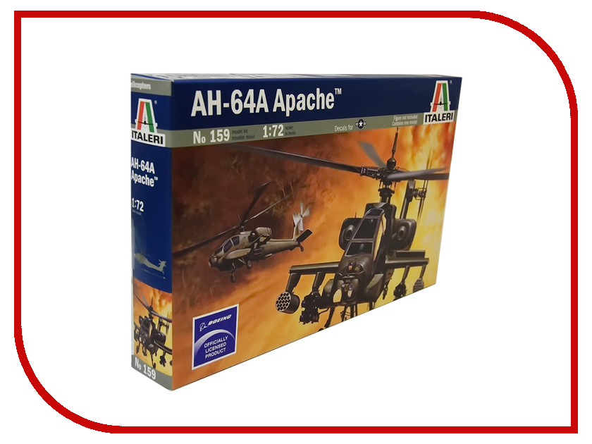Сборная модель Italeri Вертолёт AH-64 Apache 0159 military modern wars diecast boeing ah 64 apache helicopter gunships can shoot alloy pull back toy with light
