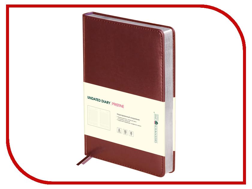 Ежедневник Greenwich Line Pristine A5 Brown Silver ENA5-11121 248008 greenwich line дневник школьный mercury цвет красный