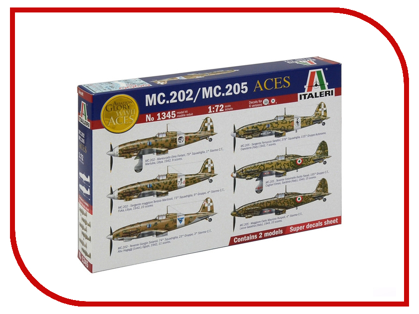 Сборная модель Italeri Самолеты Итальянские истребители MC.202 и MC.205 1345 mc 36r s1 купить