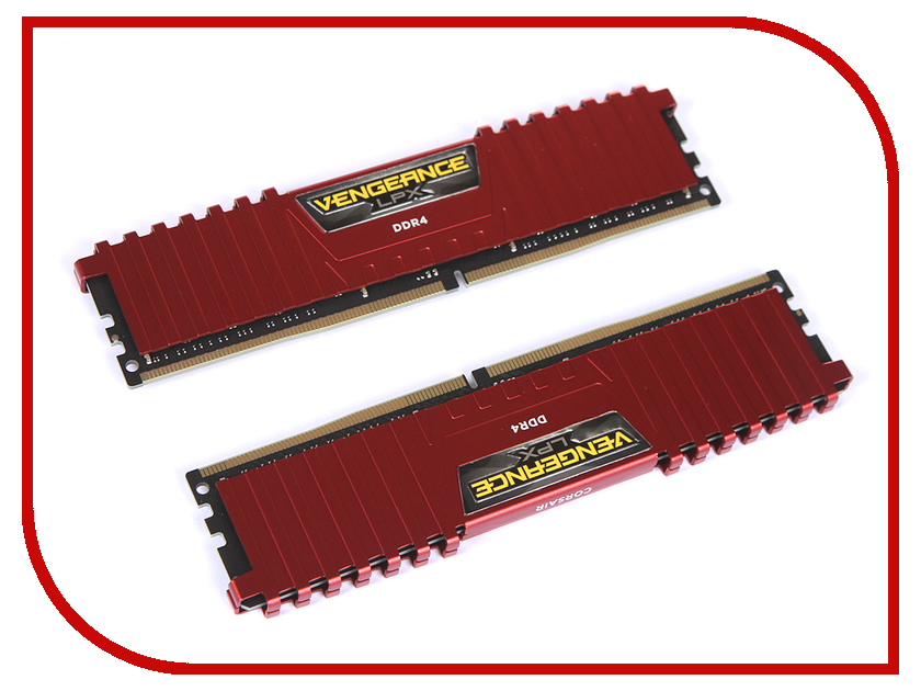Модуль памяти Corsair Vengeance LPX Red DDR4 DIMM 2666MHz PC4-21300 CL16 - 16Gb KIT (2x8Gb) CMK16GX4M2A2666C16R модуль памяти corsair vengeance lpx cmk32gx4m4b3733c17r ddr4 4x 8гб 3733 dimm ret