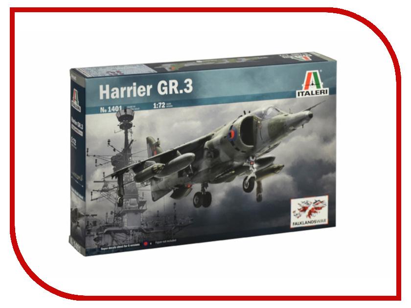Сборная модель Italeri Самолет Harrier GR.3 Фолклендский конфликт 1401 сборная модель italeri реактивный самолет martin b 57b it 17qv00 1387