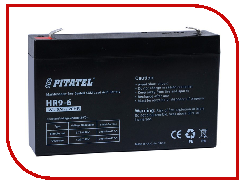 pitatel bt 783hh Аккумулятор для ИБП Pitatel HR9-6 6V 9Ah