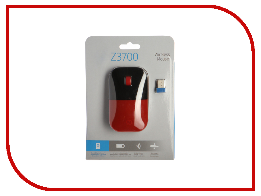 Мышь HP Z3700 Wireless Cardinal Red Cons V0L82AA wireless