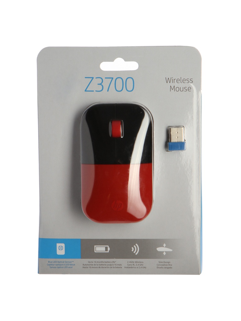 Мышь HP Z3700 Wireless Cardinal Red Cons V0L82AA мышь беспроводная hp z3700 синяя