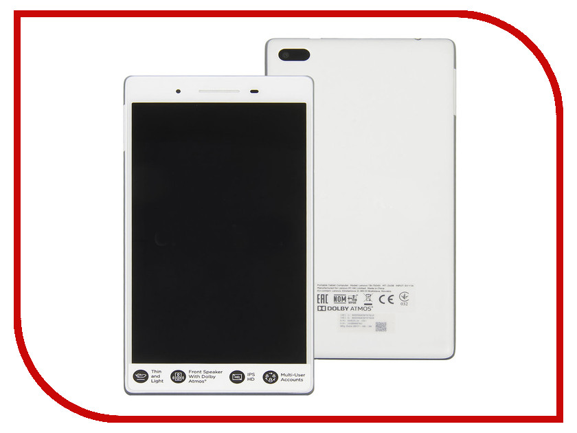 Планшет Lenovo Tab 4 TB-7504X ZA380087RU (MediaTek MT8735B 1.3 GHz/2048Mb/16Gb/GPS/3G/LTE/Wi-Fi/Bluetooth/Cam/7.0/1280x720/Android) планшет irbis tw70 intel atom z3735g 1 83 ghz 2048mb 32gb wi fi bluetooth gps cam 10 1 1280x800 windows 10