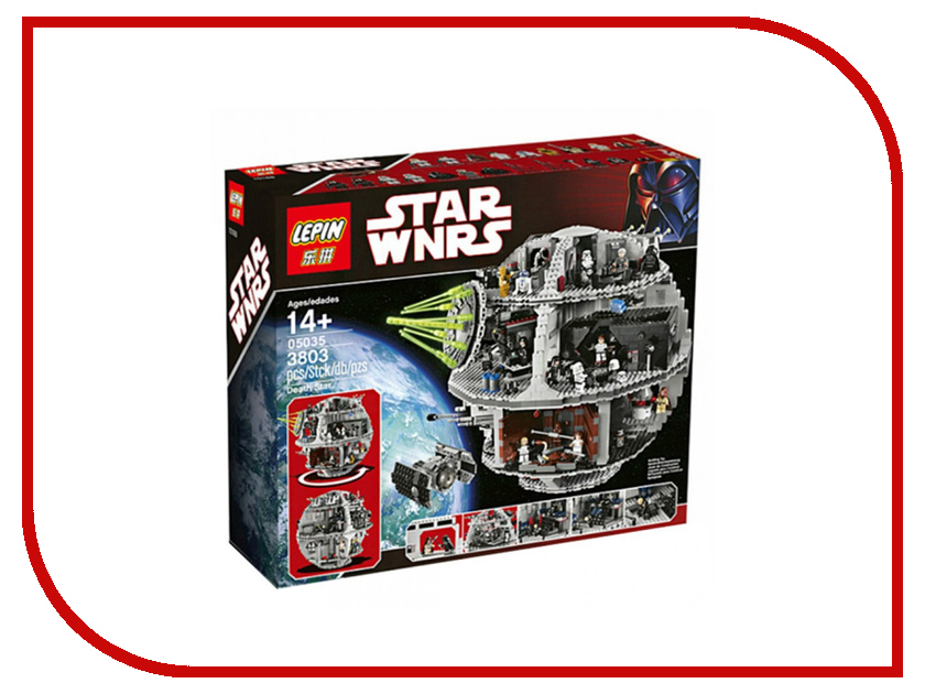 Конструктор Lepin Star Wnrs Звезда Смерти 3803 дет. 05035 lepin 05035 star wars death star limited edition model building kit millenniums blocks puzzle compatible legoed 75159