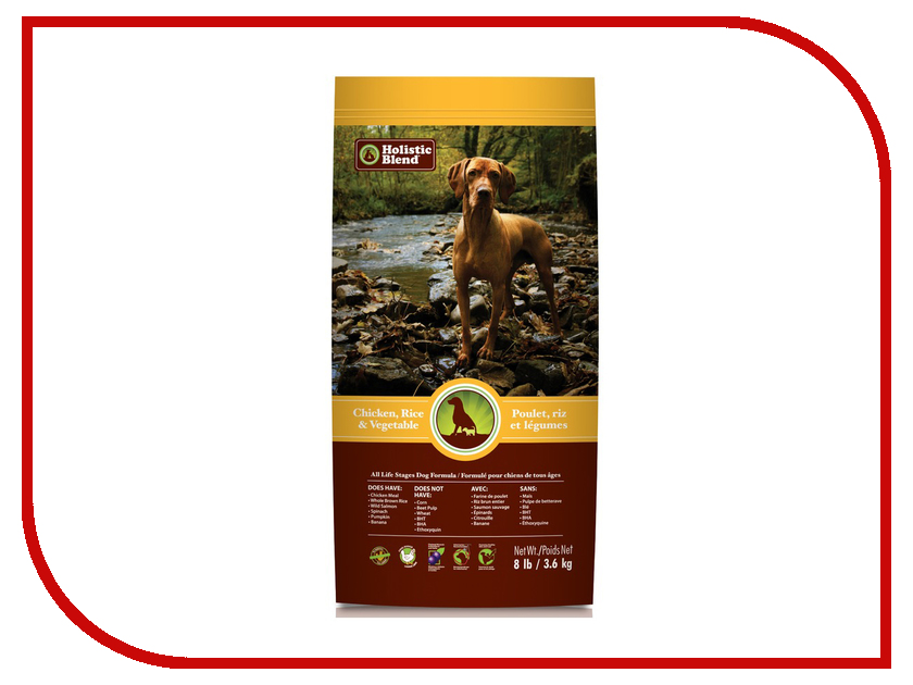 Корм Holistic Blend Цыпленок,рис и овощи 3.6kg для собак 5-25008