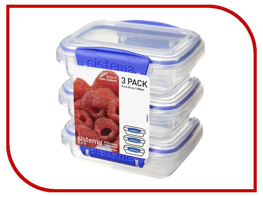 Набор контейнеров Sistema Klip-it 200ml 3шт 1523 набор контейнеров bradex tk 0204