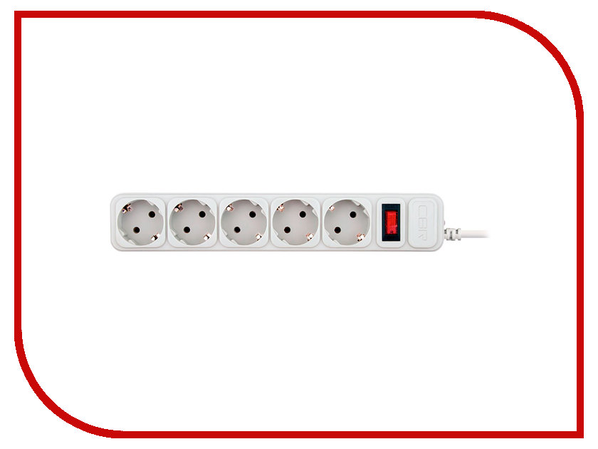 Сетевой фильтр CBR 5 Sockets 5m CSF 2500-5 White PC