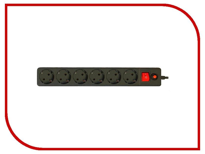Сетевой фильтр CBR 6 Sockets 1.8m CSF 2600-1.8 Black PC