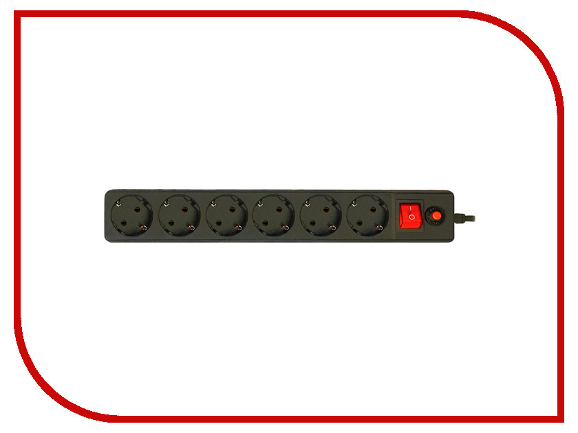 Сетевой фильтр CBR 6 Sockets 3m CSF 2600-3 Black PC