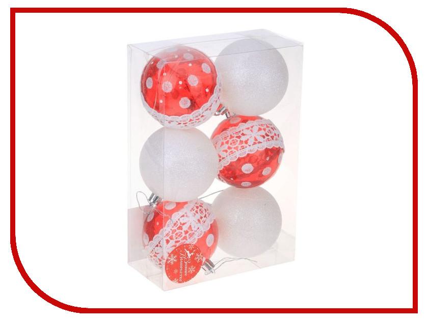 Украшение СИМА-ЛЕНД Набор шаров Гранд 6шт Red / White 2131393 набор шаров волны фиолетовый пластик 6шт 6см