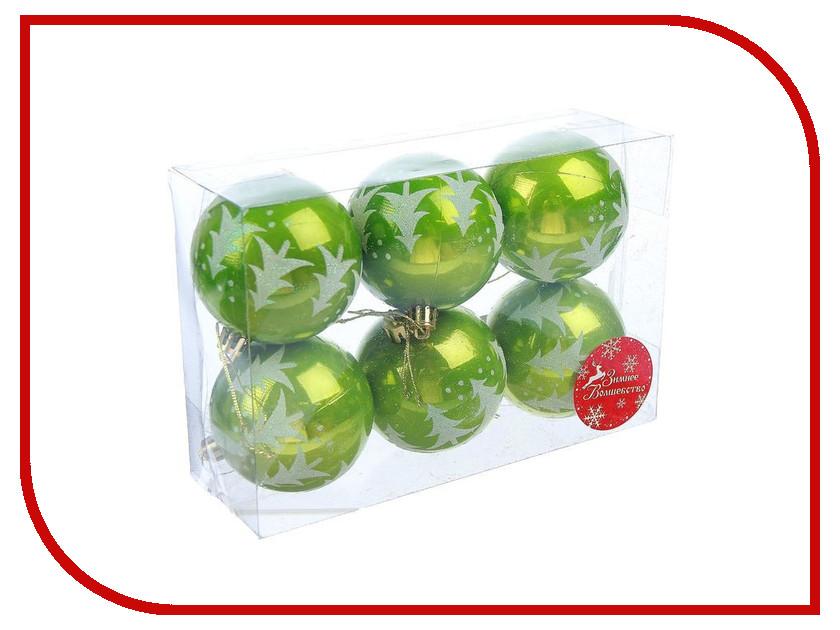 Украшение СИМА-ЛЕНД Набор шаров Ёлочки 6шт Green 2178216 набор шаров 80мм 6шт стекло зеленый