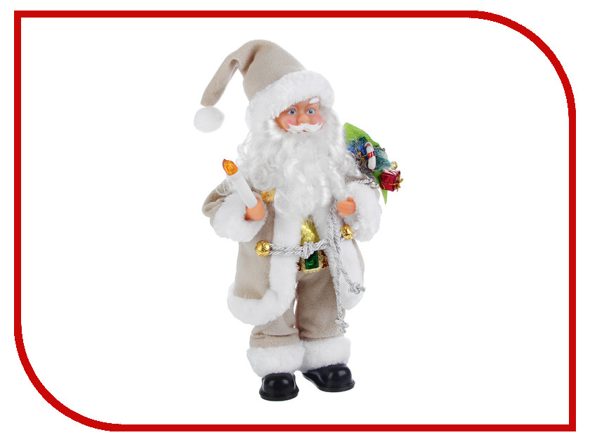 Игрушка СИМА-ЛЕНД Дед Мороз в светлой шубке с подарками и свечой 2363975 салфетница сима ленд хрюша и дед мороз 3789374