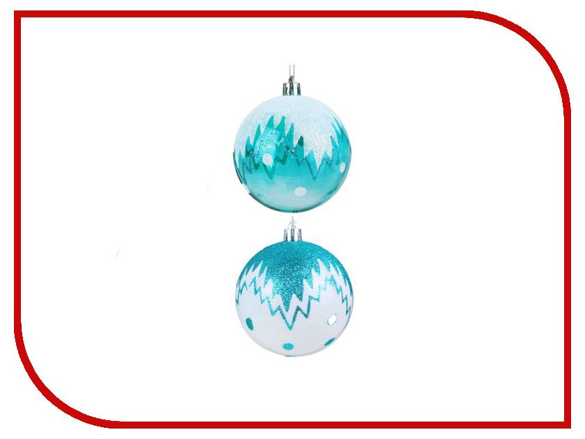 Украшение СИМА-ЛЕНД Набор шаров Изумрудик 6шт Снежный рисунок 2131461 набор шаров выпуклые стекло 6шт 80мм сапфировый