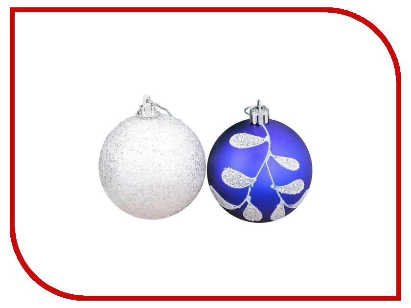 Украшение СИМА-ЛЕНД Набор шаров Веточка 6шт White-Blue 2356978 набор шаров выпуклые стекло 6шт 80мм сапфировый
