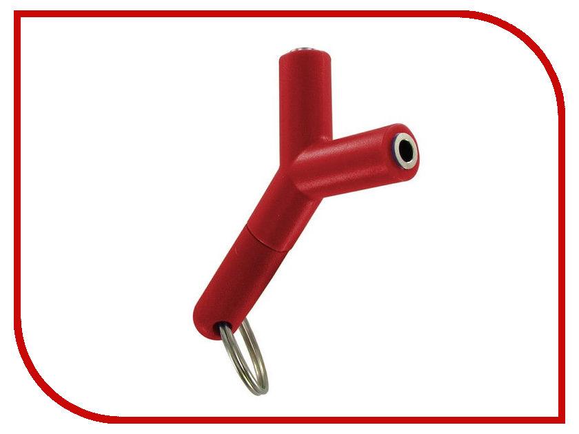 Аксессуар Krutoff Разветвитель для наушников Jack 3.5 Red 14780 аксессуар krutoff lightning u2 120i strong 1 2m red 14730