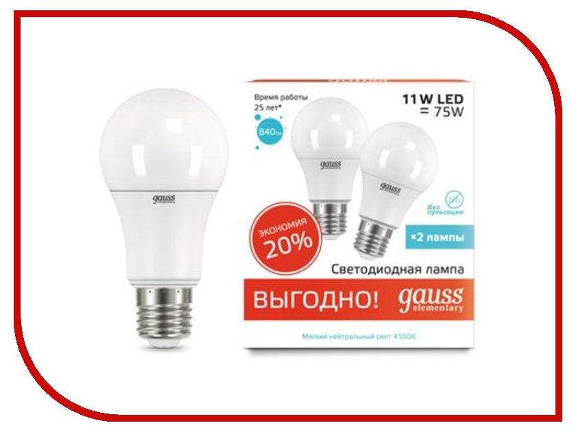 Лампочка Gauss Elementary E27 A60 11W 4100K 23221P 2шт цена и фото