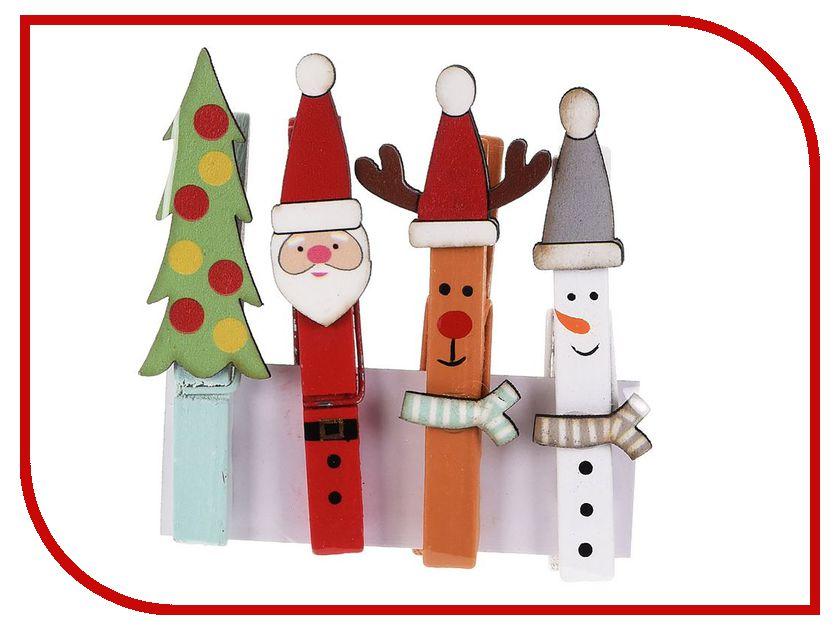 Новогодний сувенир Koopman International Набор декоративных прищепок Санта и компания 4шт DH8016340