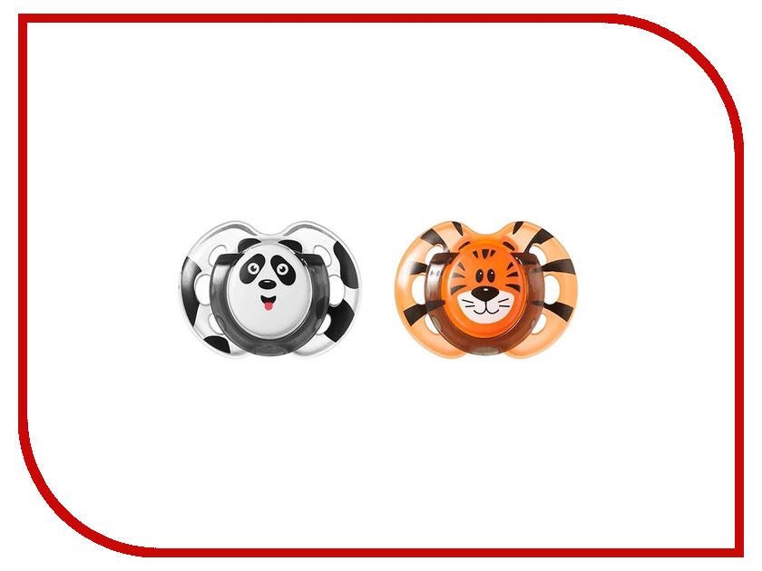 Пустышки силиконовые Tommee Tippee AnyTime Весёлые животные 0-6 мес. (2шт) Панда - Тигрёнок 43335755-1 весёлые животные развивающее домино clever