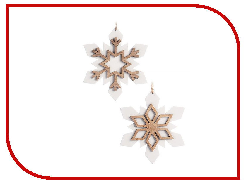Украшение Kaemingk Набор Деревянные снежинки 2шт White 550357