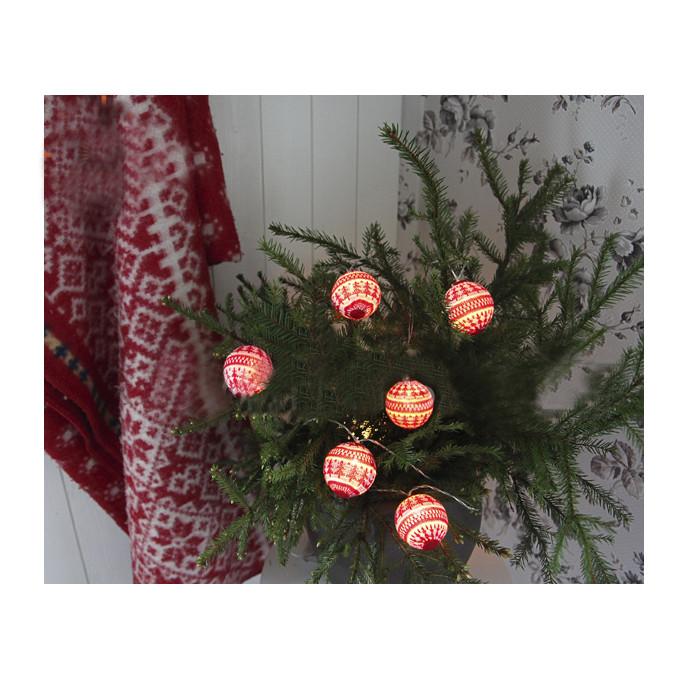 Гирлянда Star Trading Вязаные шарики 2m White-Red 726-60