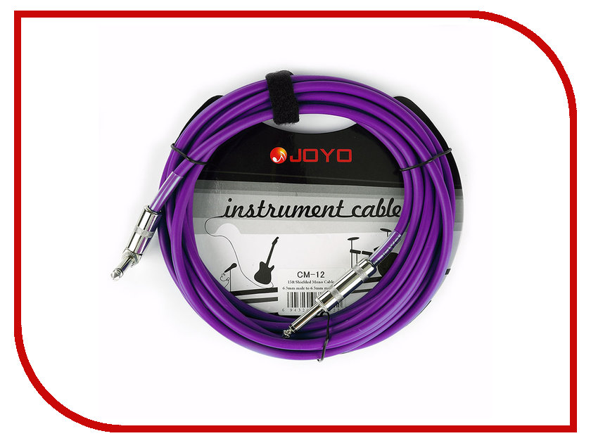 Аксессуар JOYO CM-12 Cable 6.3 Jack/M TS-угловой 4.5m Purple joyo high gain distortion electric guitar effect pedal true bypass jf 04 with free connector