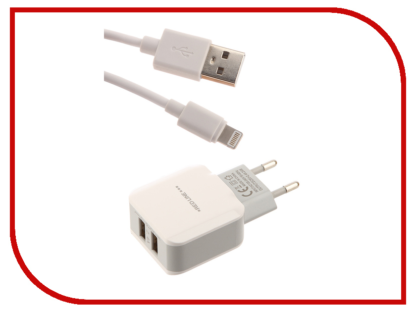 Зарядное устройство Red Line NTC-2.4A 1xUSB 2.4A + кабель 8pin Lightning c MFI White УТ000013627 red line zync alloy black кабель usb lightning 1 м