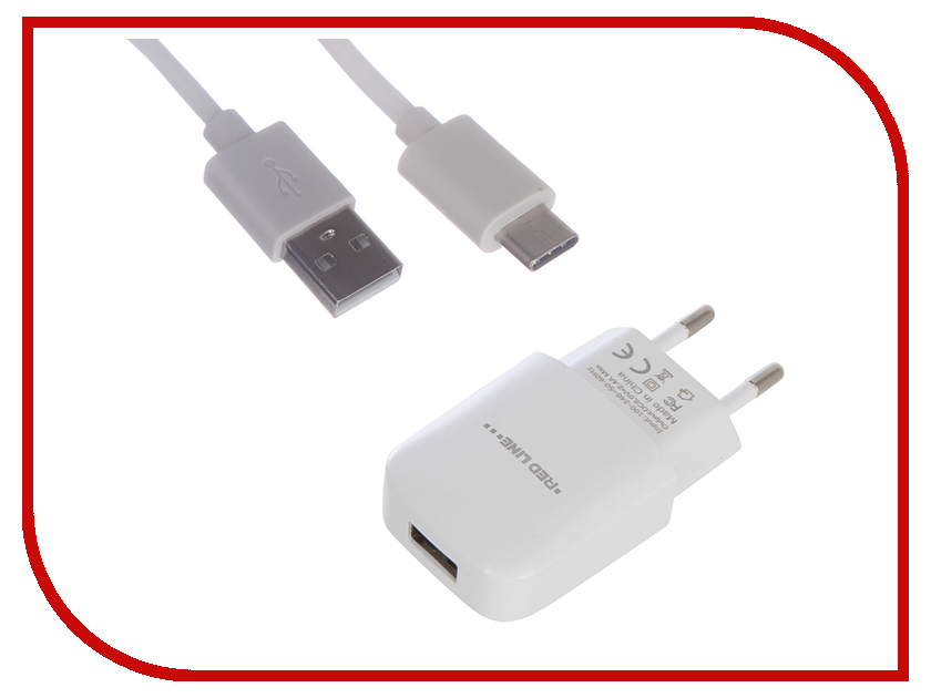 Зарядное устройство Red Line NTC-2.4A 1xUSB 2.4A + кабель Type-C White УТ000013628 dia 400mm 900w 120v 3m ntc 100k round tank silicone heater huge 3d printer build plate heated bed electric heating plate element