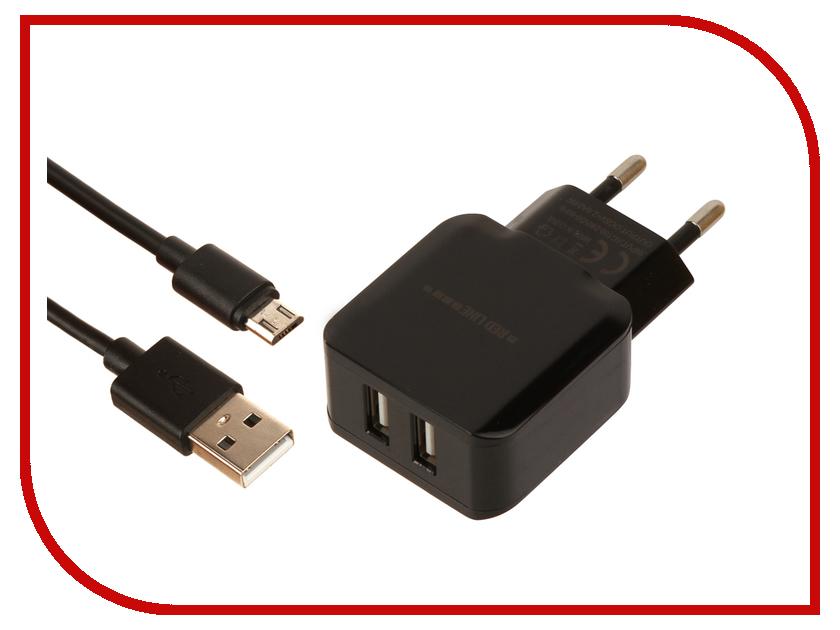 Зарядное устройство Red Line NC-2.4A 2xUSB 2.4A + кабель MicroUSB Black кабель red line classic micro usb 2м белый