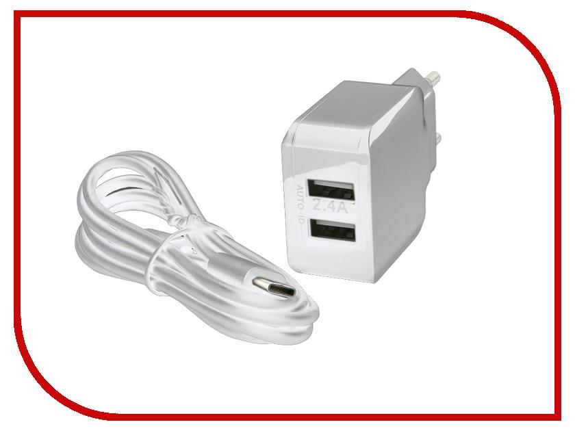 Зарядное устройство Red Line NC-2.4A 2xUSB 2.4A + кабель Type-C White зарядное устройство red line s7000 white