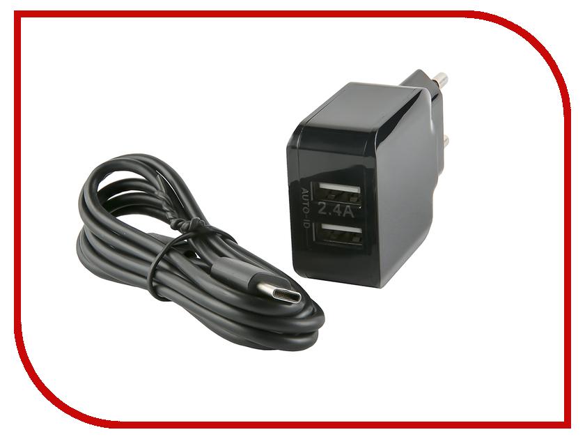 Зарядное устройство Red Line NC-2.4A 2xUSB 2.4A + кабель Type-C Black УТ000013632