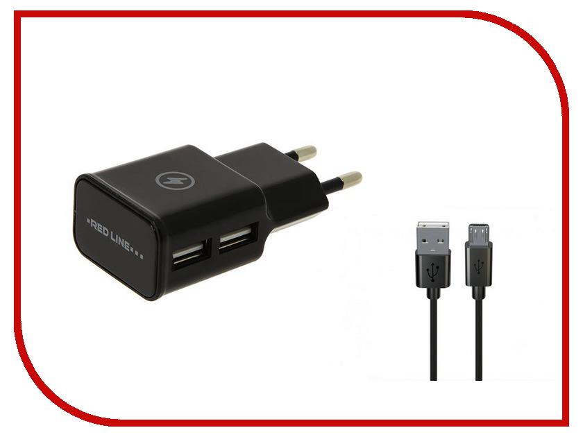 Зарядное устройство Red Line NT-2A 2xUSB 2.1A + кабель MicroUSB Black зарядное устройство red line nt 2a 2xusb 2 1a кабель black