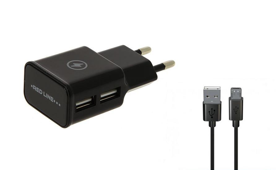 Зарядное устройство Red Line NT-2A 2xUSB 2.1A + кабель MicroUSB Black УТ000013638
