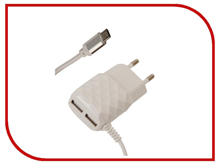 Зарядное устройство Red Line NC-2.1AC 2xUSB + MicroUSB 2.1A White зарядное устройство red line s7000 white