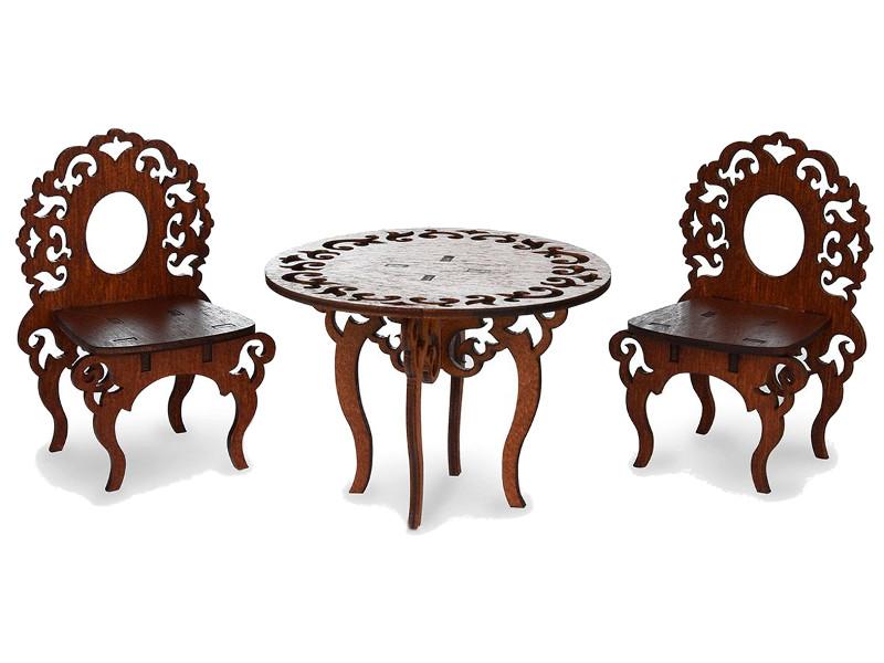 Стол и стулья для кукольного домика ЯиГрушка Brown 59406