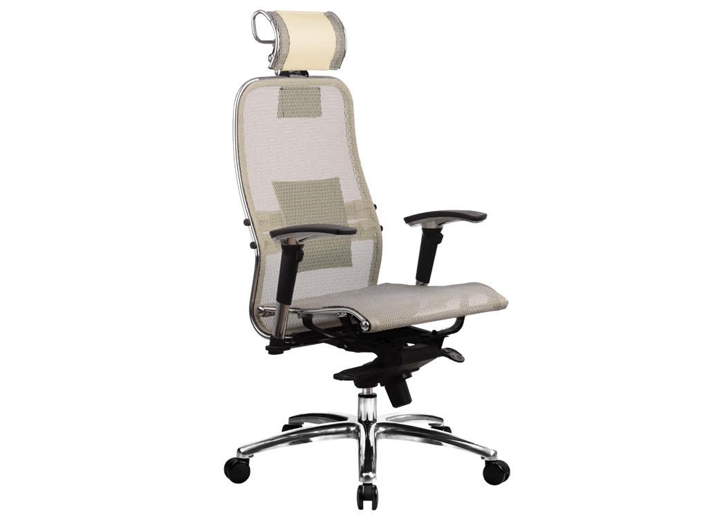 Компьютерное кресло Метта Samurai S-3.03 Beige с 3D подголовником
